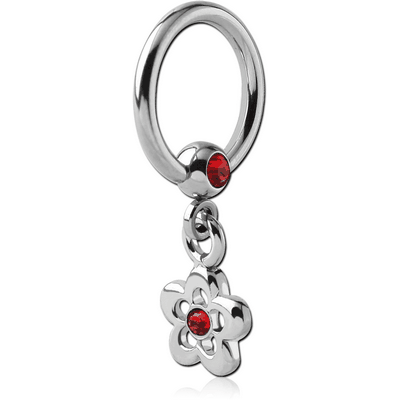 SURGICAL STEEL JEWELLED BALL CLOSURE RING WITH JEWELLED FLOWER CHARM