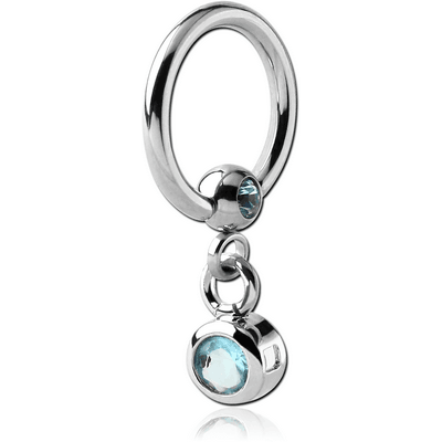 SURGICAL STEEL JEWELLED BALL CLOSURE RING WITH JEWEL CHARM