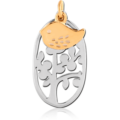 RHODIUM PLATED BRASS CHARM - PLANT AND GOLD PVD COATED CHICK