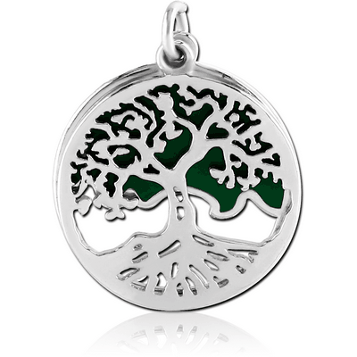 RHODIUM PLATED BRASS CHARM WITH ENAMEL - TREE DISK WITH GREEN BACKGROUND