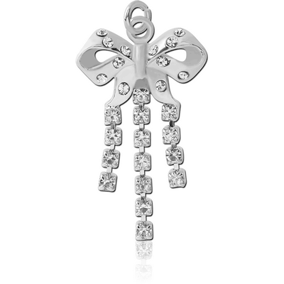 RHODIUM PLATED BRASS JEWELLED BOW DANGLING CHARM