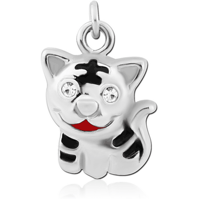 RHODIUM PLATED BRASS JEWELLED CHARM WITH ENAMEL - CAT