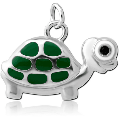 RHODIUM PLATED BRASS JEWELLED CHARM WITH ENAMEL - TURTLE
