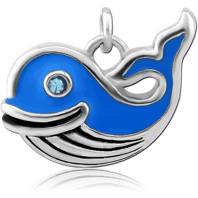 RHODIUM PLATED BRASS JEWELLED CHARM WITH ENAMEL - WHALE