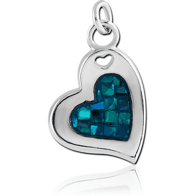 RHODIUM PLATED SYNTHETIC MOTHER OF PEARL MOSAIC CHARM - HEART