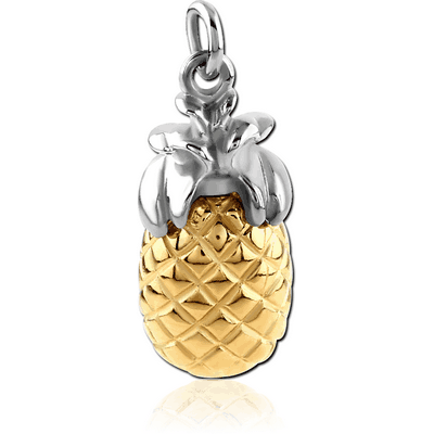 RHODIUM PLATED BRASS WITH TWO TONE CHARM - PINEAPPLE