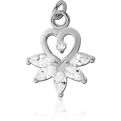 RHODIUM PLATED BRASS JEWELLED HEART CHARM WITH MARQUISE STONES