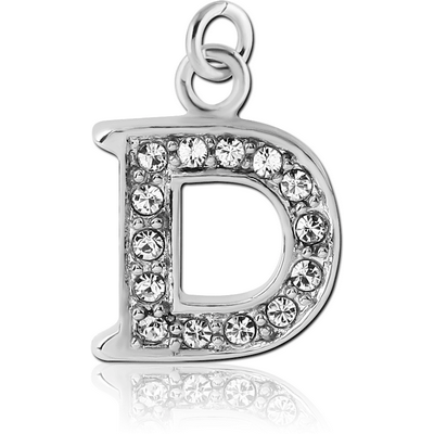RHODIUM PLATED BRASS JEWELLED LETTER CHARM - D