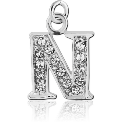 RHODIUM PLATED BRASS JEWELLED LETTER CHARM - N