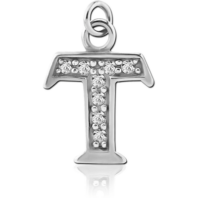 RHODIUM PLATED BRASS JEWELLED LETTER CHARM - T