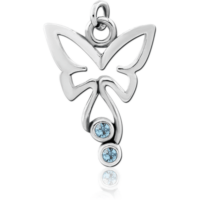 RHODIUM PLATED BRASS JEWELLED CHARM - BUTTERFLY
