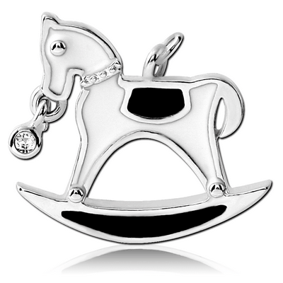 RHODIUM PLATED BRASS JEWELLED CHARM WITH ENAMEL - ROCKING HORSE