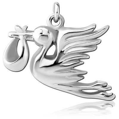 RHODIUM PLATED BRASS CHARM - BABY DELIVERED BY STORK