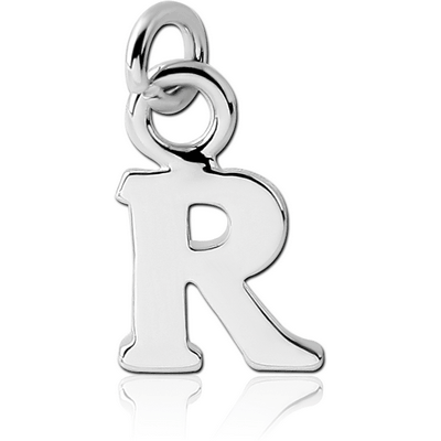 RHODIUM PLATED BRASS LETTER CHARM - R