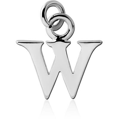 RHODIUM PLATED BRASS LETTER CHARM - W