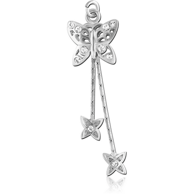 RHODIUM PLATED BRASS JEWELLED CHARM - BUTTERLY WITH DANGLING BUTTERFLIES