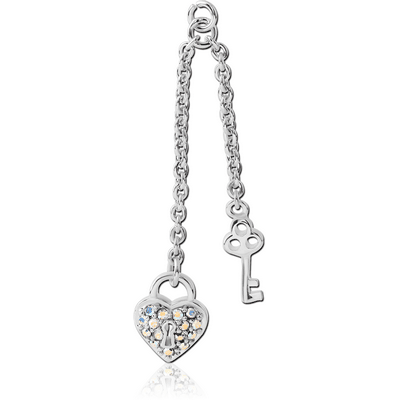 RHODIUM PLATED BRASS JEWELLED CHARM - DANGLING KEY AND HEART LOCK