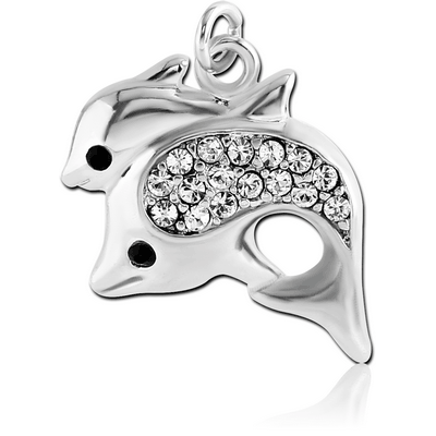 RHODIUM PLATED BRASS JEWELLED DOUBLE DOLPHIN CHARM