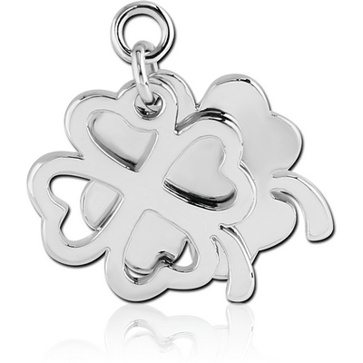 RHODIUM PLATED BRASS CHARM - CLOVER AND SHADOW