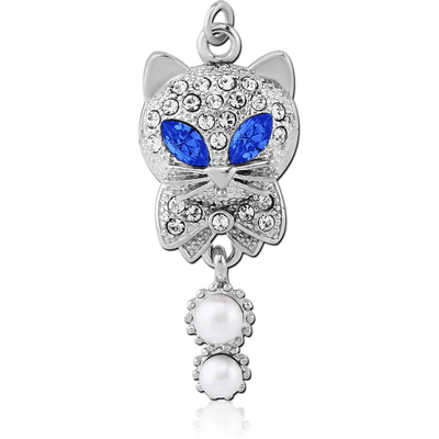 RHODIUM PLATED BRASS JEWELLED CAT CHARM WITH SYNTHETIC PEARLS