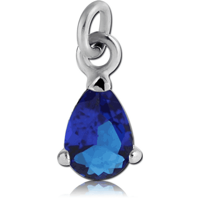 RHODIUM PLATED BRASS PRONG SET PEAR JEWELLED CHARM