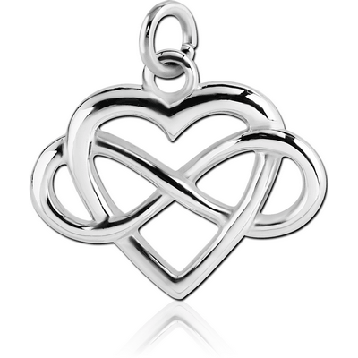 RHODIUM PLATED BRASS HEART WITH INFINITY SIGN CHARM