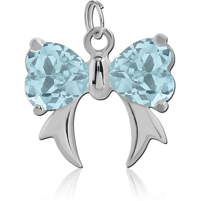 SURGICAL STEEL JEWELLED BOW CHARM