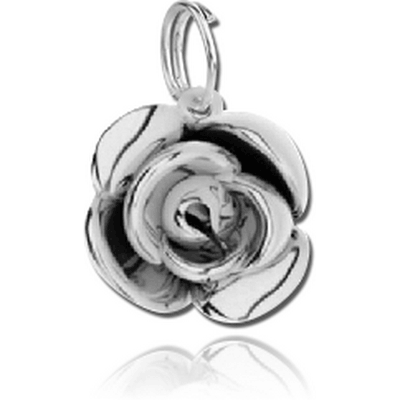 SILVER PLATED WHITE METAL CHARM - ROSE