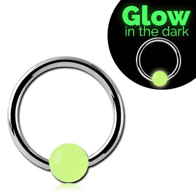 SURGICAL STEEL BALL CLOSURE RING WITH GLOW IN THE DARK BALL