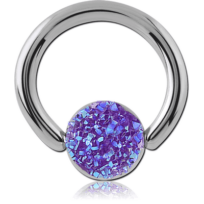 SURGICAL STEEL SYNTHETIC DRUZY CRYSTALS BALL CLOSURE RING