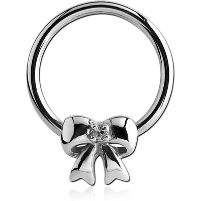 SURGICAL STEEL BALL CLOSURE RING WITH JEWELLED ATTACHMENT - BOW