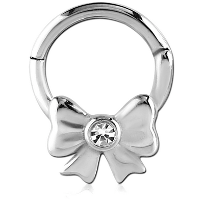 SURGICAL STEEL HINGED BALL CLOSURE RING WITH VALUE JEWELLED ATTACHMENT - BOW
