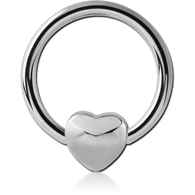 SURGICAL STEEL BALL CLOSURE RING WITH ATTACHMENT - HEART