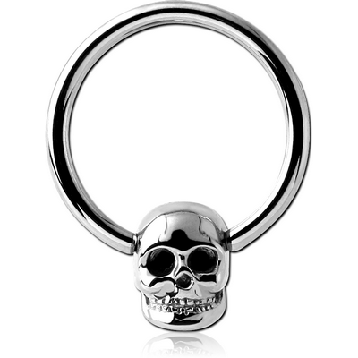 SURGICAL STEEL BALL CLOSURE RING WITH ATTACHMENT - SKULL