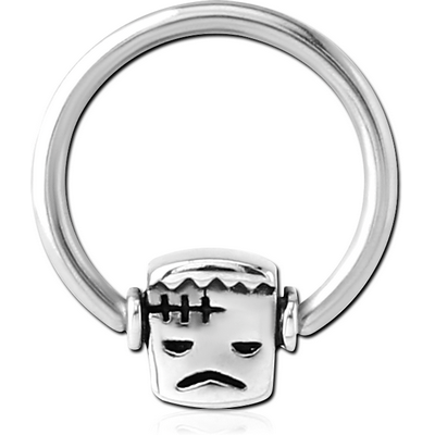 SURGICAL STEEL BALL CLOSURE RING WITH ATTACHMENT - FRANKENSTEIN