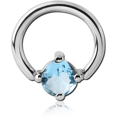 SURGICAL STEEL BALL CLOSURE RING WITH PRONG SET JEWELLED ATTACHMENT - ROUND