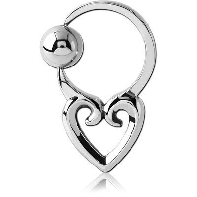 SURGICAL STEEL HEART SIDE BALL CLOSURE RING