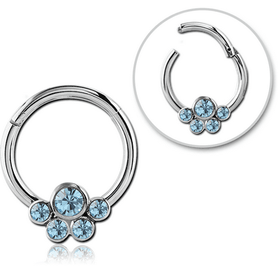 SURGICAL STEEL ROUND JEWELLED HINGED SEPTUM RING