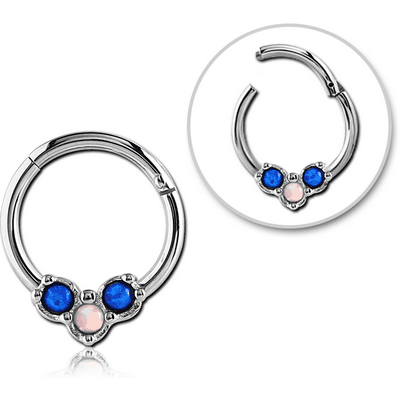 SURGICAL STEEL ROUND SYNTHETIC OPAL HINGED SEPTUM RING