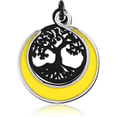BLACK PVD COATED BRASS CHARM WITH GOLD PLATED PART - TREE OF LIFE AND SUN