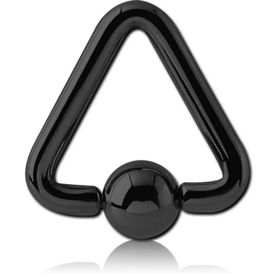 BLACK PVD COATED SURGICAL STEEL TRIANGLE BALL CLOSURE RING