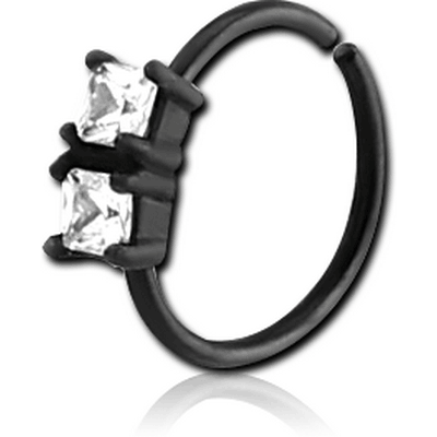 BLACK PVD COATED SURGICAL STEEL JEWELLED SEAMLESS RING