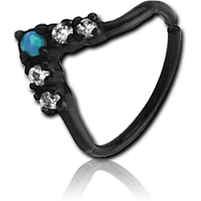 BLACK PVD COATED SURGICAL STEEL SYNTHETIC OPAL SEAMLESS RING