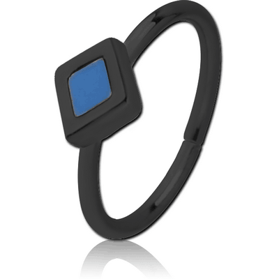 BLACK PVD COATED SURGICAL STEEL SEAMLESS RING WITH ENAMEL - RHOMBUS