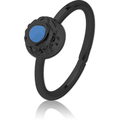 BLACK PVD COATED SURGICAL STEEL SEAMLESS RING WITH ENAMEL - CIRCLE