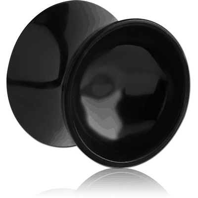 BLACK PVD COATED SURGICAL STEEL DOUBLE FLARED MIRROR PLUG