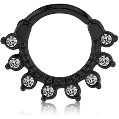 BLACKLINE SURGICAL STEEL ROUND JEWELED HINGED SEPTUM CLICKER RING
