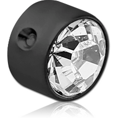 BLACK PVD COATED TITANIUM JEWELLED DISC FOR BALL CLOSURE RING