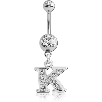 SURGICAL STEEL DOUBLE JEWELLED NAVEL BANANA WITH JEWELLED LETTER CHARM - K