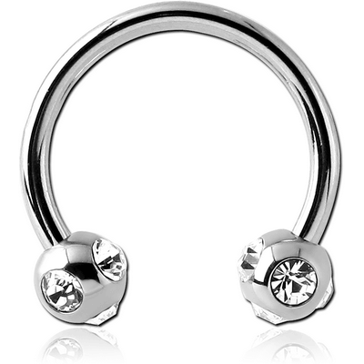 SURGICAL STEEL CIRCULAR BARBELL WITH MULTI JEWELLED BALLS